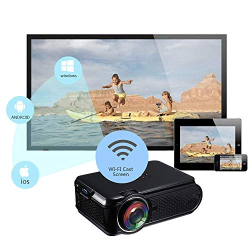 Mengen88 Mini Multimedia Movie Projector, LED Home Theater Theater, Support 1500 lumens1080P Smartphone PC Laptop Tablet…