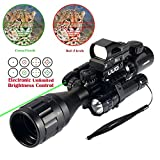 Uuq C4-12X50 AR15 Rifle Scope Dual Illuminated Reticle W/Green(RED) Laser Sight and 4 Tactical Holographic Dot Reflex Sight (12 Month Warranty)
