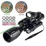 UUQ 4-16x50EG Parallax Adjustable Combo Rifle Scope W/ Green Laser, Reflex Sight, and 5 Brightness Modes Flashlight