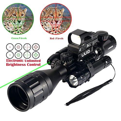 UUQ 4-16x50EG Parallax Adjustable Combo Rifle Scope W/Green Laser, Reflex Sight, and 5 Brightness Modes Flashlight - Tail Light Pad