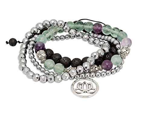Fluorite Green Bracelet - SPUNKYsoul Purple & Green Fluorite Lotus New Beginnings Bracelet Hematite for healing Stack Bracelet Set Collection