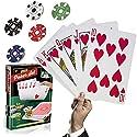 大型ポーカートランプセット – 大きな大きなジャンボサイズのゲームカードデッキとチップキット – クールな巨大サイズの8インチ x 11インチのカードと3 1/2インチのサイズチップ – プロのポーカー、テキサスホールデム、Liars Casinoゲーム。