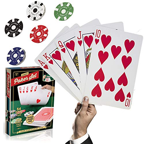 Large Poker Playing Cards Set - Big Huge Jumbo Sized Game Card Deck and Chip Kit - Cool Giant Oversized 8