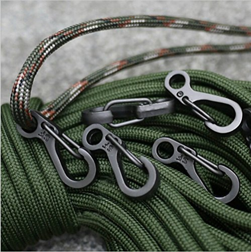 SZHOWORLD 10PCS/LOT Mini SF Spring Backpack Clasps Climbing Carabiners EDC Keychain Camping Bottle Hooks Paracord Tactical Survival Gear (Black)