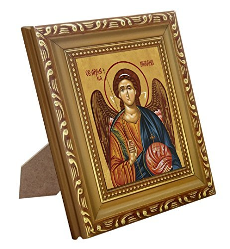 FengMicon Christian Catholic Icon St. Michael the Archangel Print with Wood Frame ()