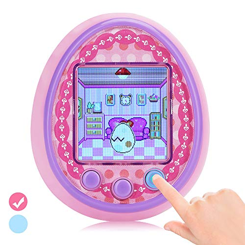 DUIWOIM Virtual Pet Electronic Handheld Pet Game Machine Kids Educational Toy HD Color Screen New Version 8 Characters Birthaday Gift for Girls Best Partner for Kids Age Over 6 Years(Pink)