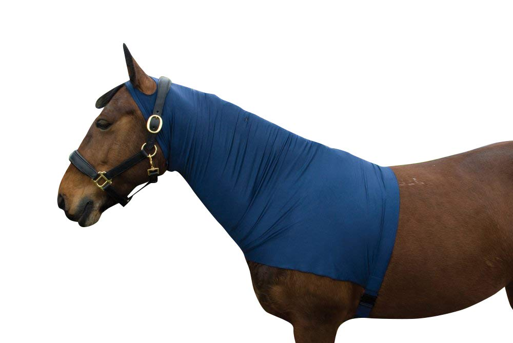 Horse Hood Full Neck Cover Satin Lycra Stretch with Holes for Ears, Zipper and Girth Strap (02. Cob/Arab)