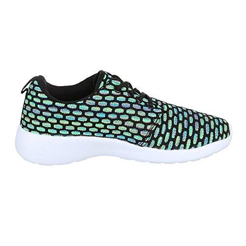 Ital-Design Damen Schuhe Trendige Sportschuhe Freizeitschuhe Schwarz Multi