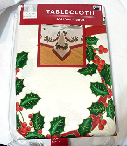 - Winter Wonderland HOLIDAY RIBBON Ivory & Holly Damask Tablecloth (52