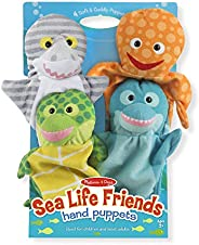 Melissa & Doug Sea Life Friends Hand Puppets, Puppet Sets, Shark, Dolphin, Sea Turtle, and Octopus, Soft P
