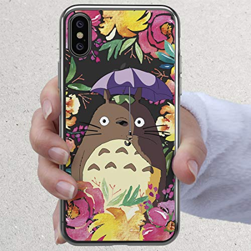 My Neighbor Totoro Phone Case Cute Floral Pink Flowers Anime for iPhone X Xs Max Xr 7 8 6 6s plus 5 5s se 5se 4 4s Inspired by Studio Ghibli Collection Gifts Clear Transparent Cell Silicone TPU Cover
