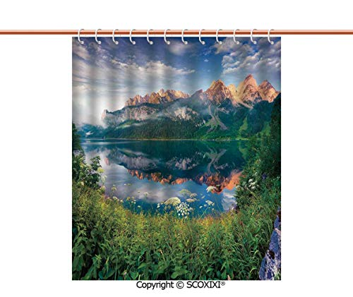 SCOXIXI Shower Curtain,Bathtub,Sunny Summer Morning on The Lake Austrian Alps Crystal Mirroring Water Fairy Season Photo,W72XL72 Inches