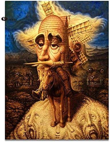 WCIAW Cuadros Abstractos De La Decoración Pintura De La Lona Pinturas Al Óleo De Don Quijote Cuadros De La Pared para La Sala De Estar Decoración Moderna del Hogar -40X50Cm (con Marco)