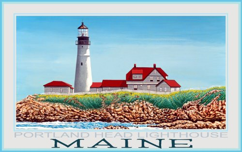 Northwest Art Mall Maine Portland Head Lighthouse by David Linton Wall Decor, 11-Inch by - Maine Portland The Mall