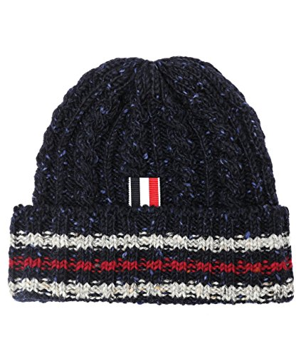 wiberlux-thom-browne-mens-flecked-cable-knit-beanie-one-size-navy
