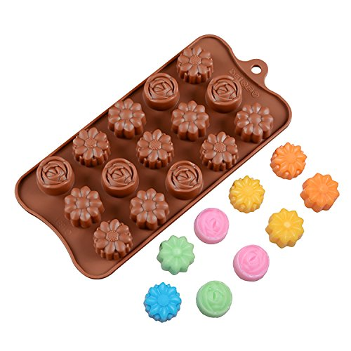 - Food-Grade Silicone Mold, Chocolate Chip, Cupcake Tops, Candy, Jelly, Cake, Biscuits, Cookie Baking Mould, Ice Cube Making Tray, Craft Mold, Muffin Pan, 15-Cavity, Flowers