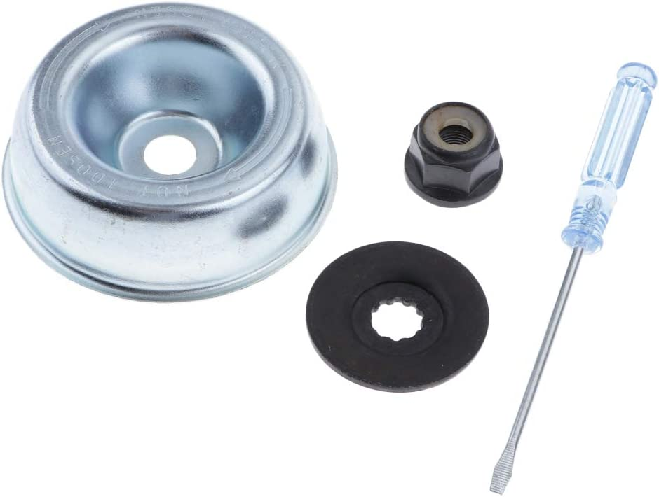 LOVIVER 4 Pcs Piezas de Repuesto Cortacésped Tuerca de Collar, Destornillador de Mantenimiento Arandela de Empuje, Placa de Apoyo para STIHL FS120