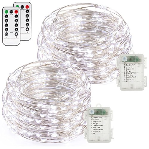 buways Fairy Lights, 2-Pack Battery Operated Waterproof Cool White 50 LED Fairy String Lights, 16.4ft Sliver Wire Light with Remote Control for Christmas Party Weeding Garden Home Decoration]()