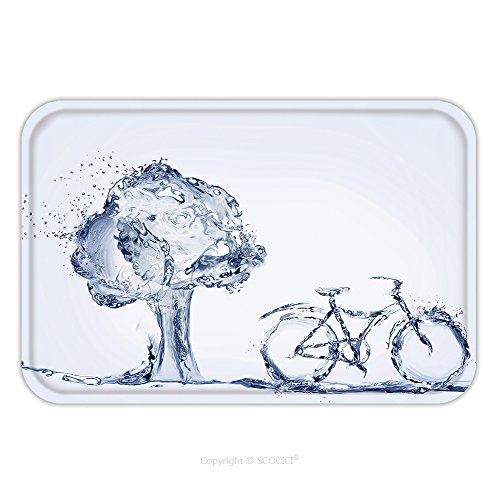 Flannel Microfiber Non Slip Rubber Backing Soft Absorbent Doormat Mat Rug Carpet A Bicycle Made Of Water To Represent Environmentally Friendly Transportation Parked In Front Of 592432472 For Indoor Ou