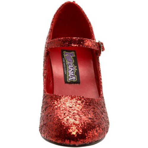 Funtasma Mary Jane Pumps GLINDA-50G - Glitter Rot 37,5 EU