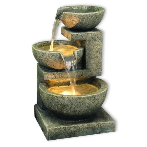 Kyoto Three Bowl Cascade Garden Water Feature with White LED Lights 49cm / 19.3'' Direct Global Trading