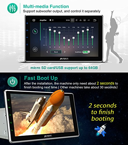 """10.1"""" Android 7.1 2GB 32GB Double Din Car Stereo Radio with Bluetooth, GPS Navigation - Support Fastboot, 3G WIFI, USB SD, MirrorLink, Backup camera, AUX, Subwoofer, OBD2, DVR by PUMPKIN (Image #2)"""