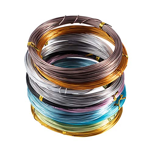 PandaHall Elite 10 Rolls Aluminum Craft Wire 20 Gauge Flexible Artistic Floral Jewelry Beading Wire 10 Colors for DIY Jewely Craft Making Each Roll 65 Feet