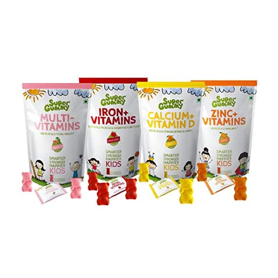 Super Gummy Zinc + Calcium+ Iron + Multivitamins Gummies for Kids | Immunity Boost, Strong Bones, Improved Cognition