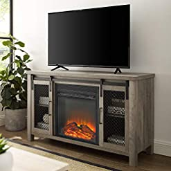 Farmhouse Living Room Furniture Walker Edison Tall Farmhouse Metal Mesh Barndoor and Wood Universal Fireplace Stand or TV's up to 55″ Flat Screen Living Room Storage Entertainment Center, 48 Inch, Grey Wash farmhouse tv stands
