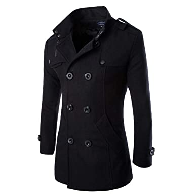 15ed0cfcd Mens Winter Stylish Wool Blend Double Breasted Military Pea Coat Slim Fit  Long Sleeve Casual Jacket