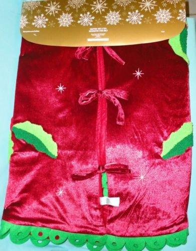 Disney Parks Santa Mickey & Minnie Mouse Holly Christmas Holiday Tree Skirt