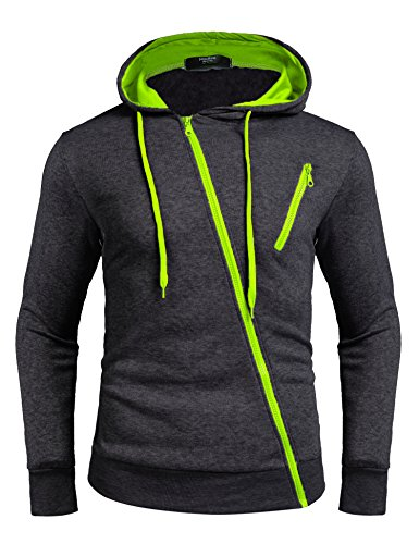 Zuckerfan Mens Fashion Gym Sport Lightweight Zip-up Irregular Hoodie(Charcoal Grey,Medium) Zippered Mens Sweatshirt