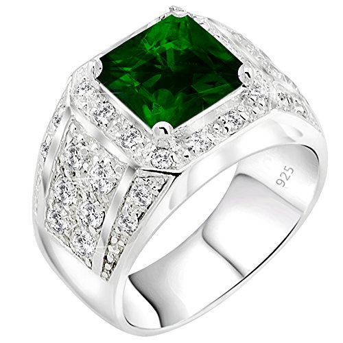 Mens Elegant Sterling Silver .925 Ring High Polish Princess Cut Featuring a Synthetic Green Emerald and 32 Fancy Round Cubic Zirconia (CZ) Stones