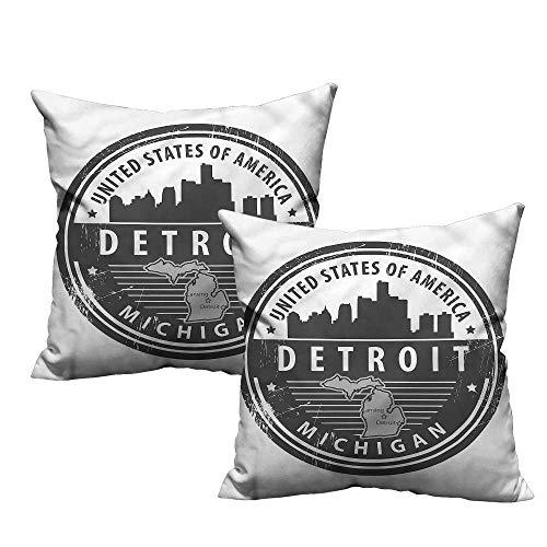 Pillowcase Michigan Printed - HeKua Detroit,Printed Pillow Case Michigan Old Stamp 18