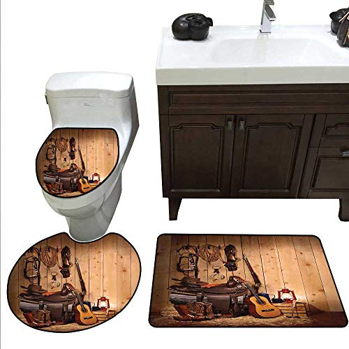 Western 3 Pc Bath Rug Set American Texas Style Country Music Guitar Cowboy Boots USA Folk Culture Print Rug Contour, Mat and Toilet Lid Cover Cream and ()