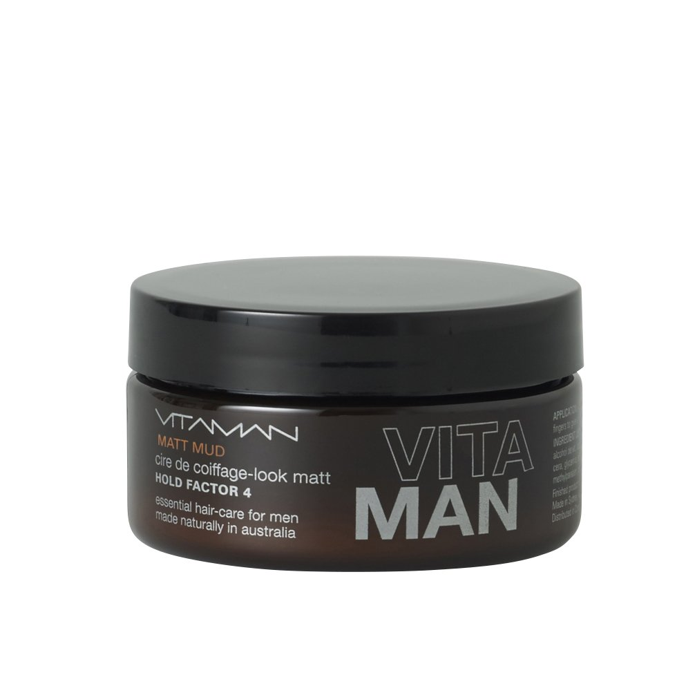 VITAMAN Mens Matte Mud Hair Styling Wax 100g - Non-sticky All Day Paste For Men - All Natural Ingredients and Moisturizing Cream - Soft, Strong and Shine Free Products