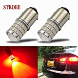 iBrightstar Newest 9-30V Strobe Brake Lights 1157 2057 2357 7528 BAY15D LED Bulbs with Projector replacement for Tail Brake Stop Lights, Brilliant Red