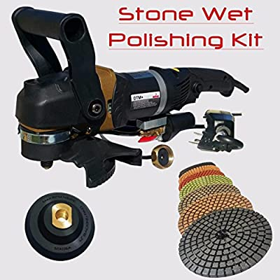 """Stadea SWP107K Concrete Wet Polishing Angle Grinder 5"""" Stone Wet Polisher With Diamond Polishing Pads Kit For Concrete Stone Polishing"""