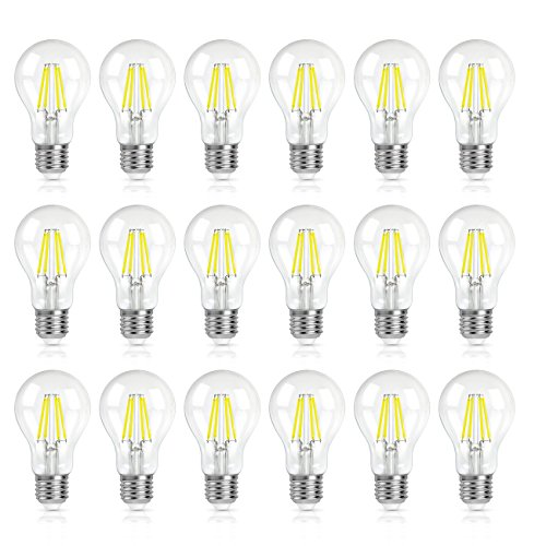 SHINE HAI A19 LED Vintage Filament Bulb, 4W (40W Equivalent), 5000K Daylight White, E26 Base, Omnidirectional, Pack of (18 Led Bulb)