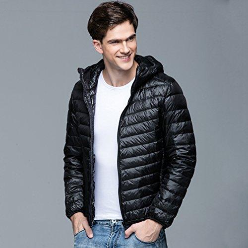 Lightweight Autumn Outwear Warm Jacket Jacket Black Down Coat Men Down Padded ZKOO Winter and Puffer Zipper Hood POqtA7
