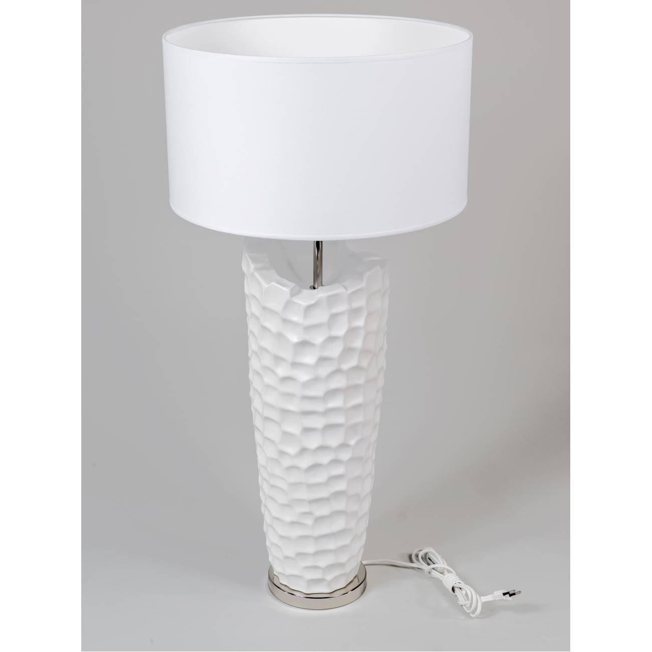 Formano Bodenlampe, Stehleuchte Murano H. 85cm weiß mit Silber Keramik