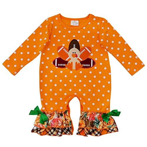 So Sydney Girls Toddler Baby Infant Fall Halloween Long Sleeve Pumpkin Romper (L (12-18 Months), Turkey Football) ()