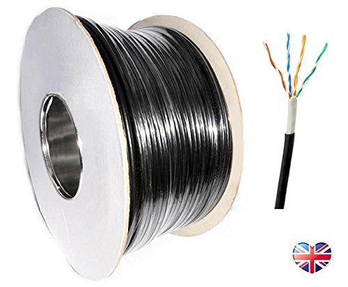 100m Premium Cat5e UTP External SOLID COPPER Lined Network Cable Outdoor Reel BLACK Cat 5e Rosenet Systems 53655463