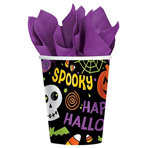 Spooktacular Halloween Gang Reusable Paper Cups, 9 Ounces, Pack of 18. -