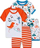 shelry Dinosaur Pajamas for Boys Summer Kids 4 Pieces Cotton Pjs Short Set Toddler Baby Sleepwear 12t