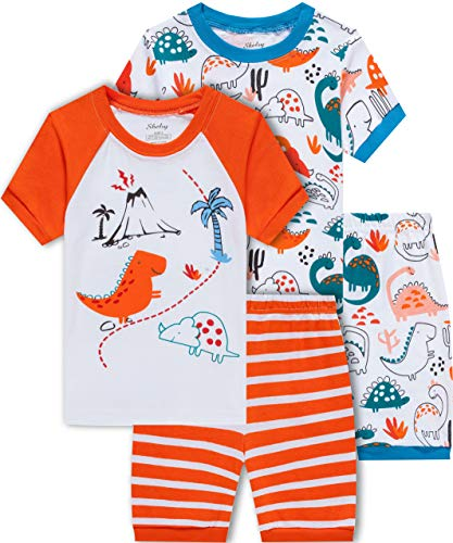 shelry Dinosaur Pajamas for Boys Summer Kids 4 Pieces Cotton Pjs Short Set Toddler Baby Sleepwear -