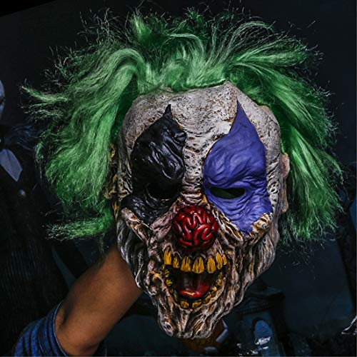 2pcs/set Evil Scary Demented Psycho Clown Latex Mask With Green Hair -