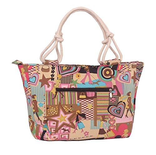 Capacity Tote Bags Canvas Lovely Shoulder Purses and Khaki Zipper Women and Large WongSinTong with Pockets Handbags for w8zqvnxP5