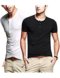 iLoveSIA Mens Henley T-shirts Round Neck With Short Sleeve(Clearance)