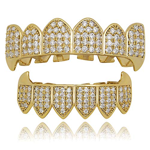 - LuReen 14k Gold Silver Plated Iced Out Vampire Fangs Grillz Top and Bottom Grillz Set + 2 Extra Molding Bars (Gold Grillz Sets)